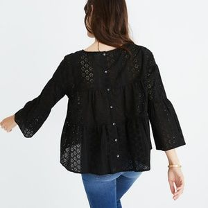 Madewell Eyelet Tiered Button-Back Top